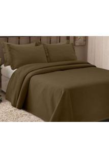 Colcha Piquet King Size 280X250 2 Porta Travesseiros Marrom