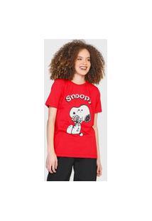Camiseta Snoopy By Fiveblu Texturizada Vermelha