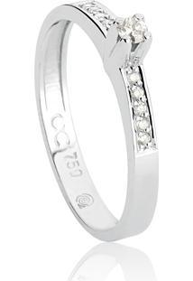 Anel De Ouro Branco 18K Solitário Com Aro De Diamantes-Coleção Solitários Desire