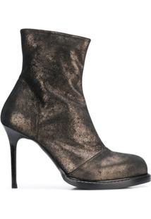 Ann Demeulemeester Burnished Metallic Ankle Boots - Preto