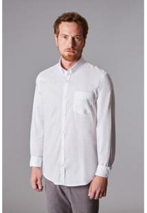 Camisa Ml Oxford Pima Leve Reserva Masculina - Masculino-Branco