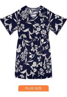 Vestido Floral Plus Size Azul