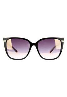 Óculos De Sol Ana Hickmann Ah9282 H01/56 Preto/Lilas/Dourado