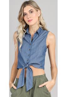 Camisa Jeans Feminina Com Amarração Sem Mangas Azul Médio
