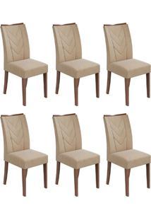 Conjunto Com 6 Cadeiras Atacama Imbuia E Creme