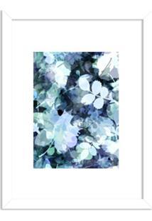 Quadro Decorativo Azul Abstrato Branco Branco - Médio