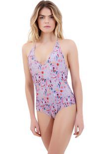 Body Rosa Chá Basic Pop Art Beachwear Estampado Feminino (Pop Art, Pp)