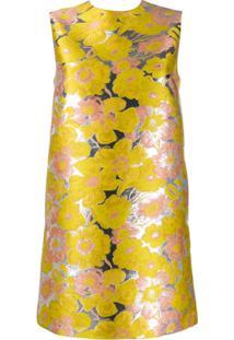 Msgm Vestido Reto Jacquard Floral - Amarelo