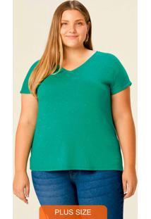 Blusa Verde Botonê Com Decote V Plus