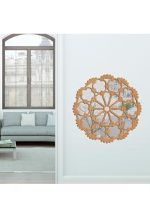 Escultura De Parede Wevans Mandala Perfect, Madeira + Espelho Decorativo