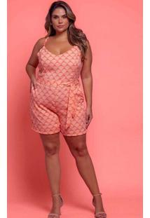 Macaquinho Almaria Plus Size Plump Estampado Rosa