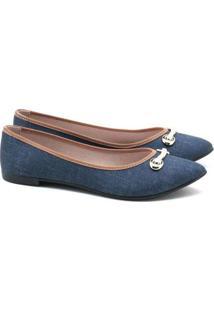 Sapatilha Moleca Jeans Bico Fino Azul