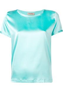 Blanca Blusa Mangas Curtas - Azul