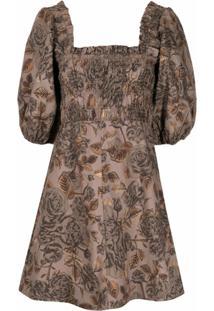 Ganni Vestido Com Estampa Floral - Marrom