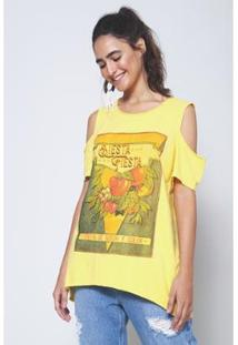 Blusa Ombro Vazado Fiesta Goldcoast Oh, Boy! - Feminino-Amarelo