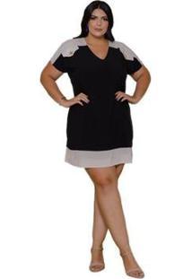 Vestido Plus Size Sinopzzi Seda Médio Decote V Feminino - Feminino-Preto