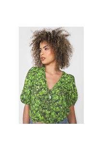 Blusa Colcci Floral Mangas Bufantes Verde