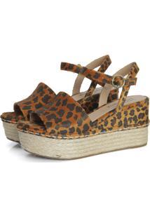 Sandália Connect Shoes Pelo Onça Caramelo