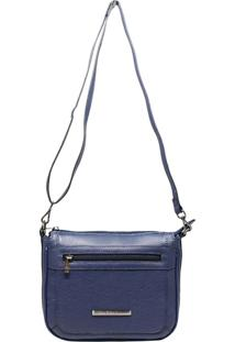 Bolsa Em Couro Transversal Recuo Fashion Bag Azul Marinho