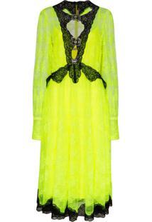 Christopher Kane Vestido Neon Com Renda - Amarelo