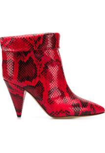 Isabel Marant Ankle Boot 'Lisbo' De Couro - Vermelho
