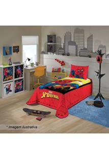 Lepper Colcha Spider Manâ® De Solteiro Vermelha & Amarela 150X210Cm