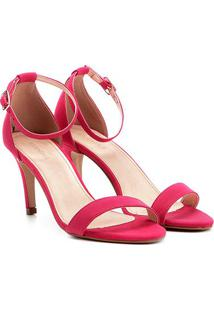 Sandália Couro Shoestock Salto Fino Feminina - Feminino-Pink
