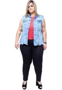 Colete Jeans Cambos Plus Size Feminina - Feminino-Azul