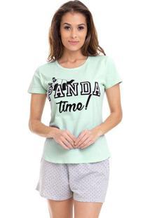 Pijama Short Doll Verão Manga Curta Feminino Com Algodão Luna Cuore