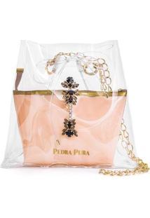Bolsa Pedra Pura Chaveiro Diamante Negro Feminina - Feminino-Rosa+Dourado