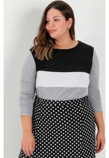 Blusa Mescla Com Recortes Na Frente Plus Size