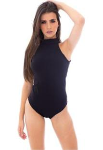 Body Moda Vicio Gola Alta Com Bojo Feminino - Feminino-Preto