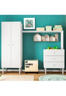 Guarda-Roupa Infantil 2 Portas Com Comoda Meu Fofinho Branco - Art In Móveis