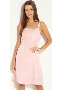 Vestido Quintess Rosa Com Elástico Nas Costas