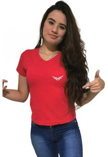 Camiseta Feminina Gola V Cellos Wings Premium Vermelho