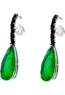Brinco Ear Hook Gota Esmeralda Cravejado Com Zircônias Negras Em Prata 925