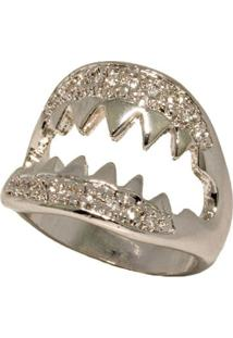 Anel Shark Ródio Branco Cravejado