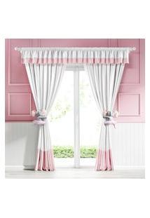 Cortina Branca Com Bando E Barrado Rosa 2,30M Gráo De Gente Rosa