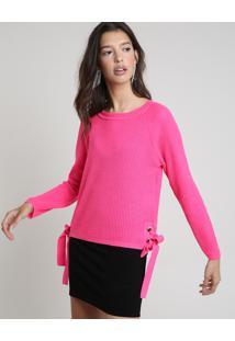 Suéter Feminino Em Tricô Com Ilhoses Decote Redondo Pink