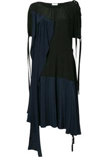 Jw Anderson Vestido De Seda Color Block - Preto