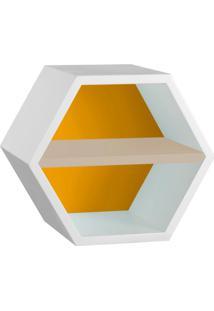 Nicho Hexagonal Favo Ii Com Prateleira Branco Com Amarelo E Bege