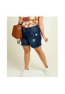 Bermuda Plus Size Feminina Jeans Destroyed Marisa