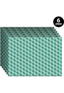 Jogo Americano Mdecore Geométrico 40X28Cm Verde 6Pçs