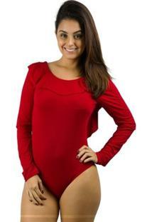 Body Banna Hanna Visco Com Bojo Vermelho - Feminino-Vermelho