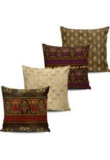 Kit 4 Capas Almofadas Decorativa Egito Marrom E Dourado 45Cm - Tricae