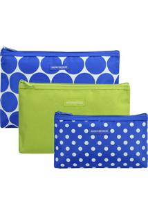 Kit De Nécessaires Poá- Azul & Verde Claro- 3Pçsjacki Design
