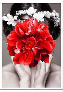 Quadro 60X90Cm Helena Mulher Com Flor Vermelha Nórdico Moldura Branca Com Vidro