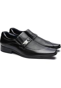 Sapato Social Manutt Couro Bico Quadrado Masculino - Masculino-Preto