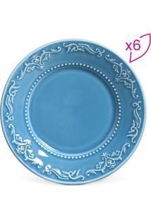 Jogo De Pratos Para Sobremesa Acanthus- Azul- 6Pçs