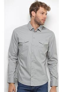 Camisa Colcci Slim Manga Longa 2 Bolsos Masculina - Masculino-Cinza Claro